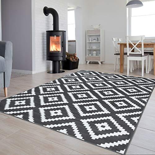 Tapiso Colección Luxury Alfombra Salón Moderno Piso Color Gris Oscuro Blanco Diseño Geométrico Fácil...