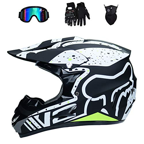NBZH Dual Sport Motocross Helm/Adult MX Off-Road Motorcycle/AM Mountainbike Fullface Helm (Handschuhe, Goggles, Maske, Set of 4),Matteblack,M
