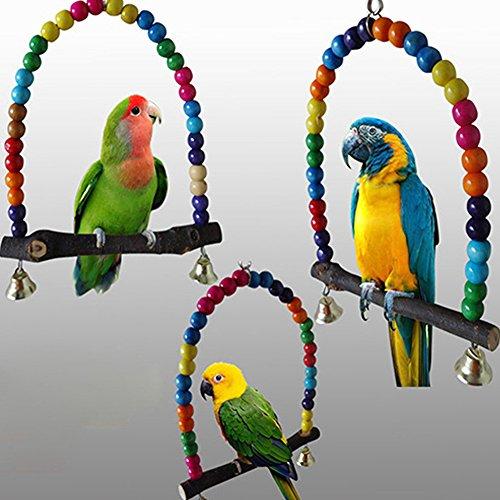 LYAmber Papageienkäfig-Spielzeug aus Holz, für Finken, Sittiche, Nymphensittiche, Regenbogenbrücke Mehrfarbig