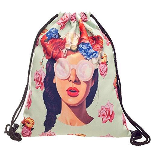 aheadad Mode drapierte Mädchen 3D Print Kordelzug Aufbewahrungstasche Kordelzug Rucksack Rucksack Sporttaschen für Fitness-Studio oder Reisen Frauen