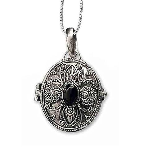 Anhänger Medaillon zum öffnen oval Onyx aus 925er Silber Schmuck mit Kette Halskette Silberkette 116