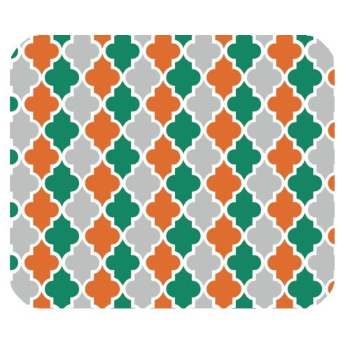 Rabatt-fliesen (Vierpass-Orange Türkis Grau und Weiß Gitter Mini Design Gaming Maus Pad Rechteck Mauspad)