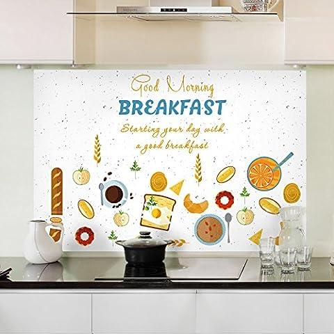 Surface résistante à l'huile de cuisine résistance à haute température anti-seize carreaux de mur de verre autocollant graisse de s'en tenir à l'extracteurs étanche autocollant résistant à l'huile 90*60cm, un délicieux petit déjeuner