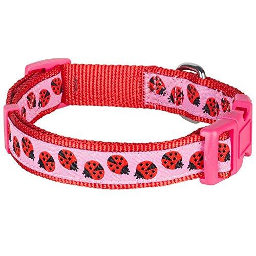 Blueberry Pet Hundehalsband, 7 Muster, Marienkäfer-Design, Größe L, Halsumfang 45,7-66 cm, verstellbare Halsbänder für Hunde -
