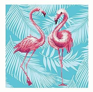 Pracht Creatives Hobby DD-49353 Diamond Dotz Flamingos, Brillante Imagen de Diamante para Personalizar, Aprox. 32 x 32 cm