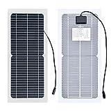 Flexible Sonnenkollektor, 10 Watt Semi-Flexible Monokristalline Silizium-PV-Modul mit Krokodilklemme Kabel für elektrische Torantriebe(18V)