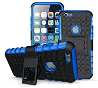 iPhone 6/6S Blue Case [Kickstand Feature] [Tyre Design] Shockproof light weight Tough Armour Case with 2 in 1 Hybrid Dual Layer Protection Cover with Kickstand [Good Grip] Shock Drop Bumper Impact Resistant case cover by SS TechŽ (iPhone 6/6S Blue)