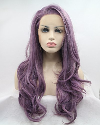 cupidlovehair lang natur Big Gelockt Stil Licht Lila Farbe hitzebeständiges Synthetikhaar Lace Front Perücken (Lace Stile Front)