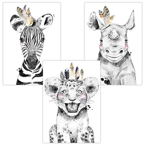 Wandbilder 3er Set für Babyzimmer Deko Poster | Dekoration Kinderzimmer | Kunstdruck DIN A4 für Junge und Mädchen Safari Tiere (Zebra Löwe Nashorn Boho)
