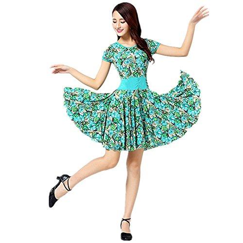 Kostüme Step Dance (GBDSD Square Dance Röcke und kurzärmeliges Kleid lateinischer Tanzrock im mittleren Alter , xxxxl , green flower)