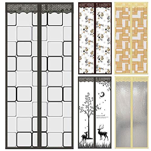 FWML Plaid Deer Hands-Free Magnetic Tür Fliegengitter Anti Moskitonetz Vorhang @ 4_90_by_210Cm - Küche Vorhänge Plaid