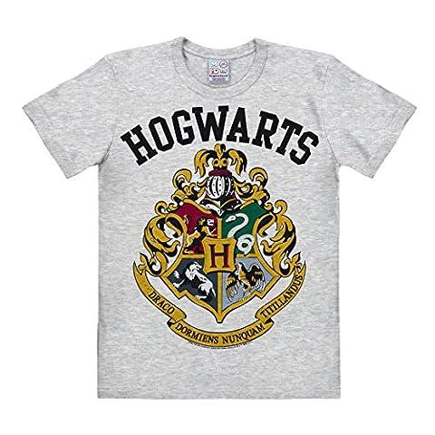 Harry Potter - Coat of Arms - Gryffindor - Hufflepuff - Ravenclaw - Slytherin - Hogwarts Logo Short Sleeve T-Shirt for men - heather grey - Licensed original design - LOGOSHIRT, Size