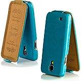 UrbanNerd Paris Hülle für Samsung-Galaxy-S4 - Tasche 100% magnetfrei - Cover Case Schutzhülle Handytasche in Blau