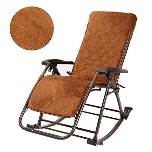 LI JING SHOP - Klappbarer Schaukelstuhl Schwerelosigkeit Rocker Liegestuhl mit verstellbarem Kissen für Terrasse Garten Rasen ( Farbe : Brown-1 ) (Rocker-liegestuhl)