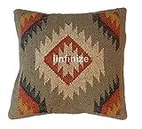 IINFINIZE Lot de 4 taies d'oreiller Indiennes Vintage en Jute taie d'oreiller 45,7 x 45,7 cm Faite à la Main Kilim, Coussin Indien d'extérieur et taies d'oreiller bohème