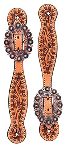Turquoise Cross Cowboy-Style Floral Tooled Ladies' Spur Straps Light Oiled