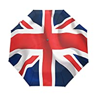 Funnyy Automatic Folding Umbrella Union Jack UK British Flag Auto Open Compact Portable Travel Umbrella for Girls Boys Women