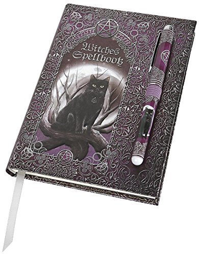 Luna Lakota Spells Black Cat 6.75 Hard Cover Embossed Journal Book with Pen by Pacific Giftware