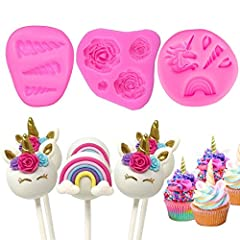 Idea Regalo - Witch S Magic House mini Unicorn Mold DIY cake topper decorazione unicorno orecchie corna fiori Unicorn cupcake set di stampi in silicone