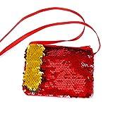 MoGist Sequins Sac pour Enfant Sac à bandoulière Dessin animé Portefeuille carré Fermeture Éclair Cosmétique Sac Porte-Monnaie Rouge Red 11.5 * 9.3cm