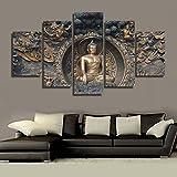 Design PT Wandkunst Bilder Leinwand Poster Modularen Rahmen 5 Panel Buddha Statue Buddhismus Kunst Landschaft Wohnkultur HD Gedruckte Malerei, 20x35 20x45 20x55 cm, Rahmen