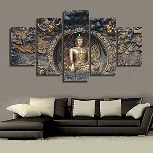 Design PT Wandkunst Bilder Leinwand Poster Modularen Rahmen 5 Panel Buddha Statue Buddhismus Kunst Landschaft Wohnkultur HD Gedruckt Malerei, 40x60 40x80 40x100 cm, Rahmen