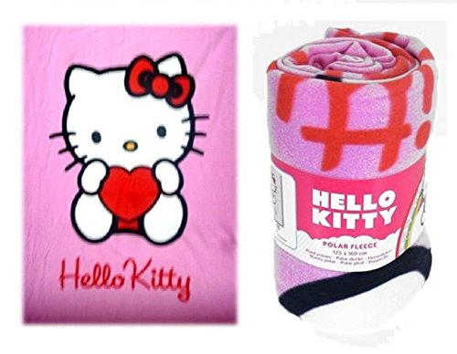 Hello Kitty Fleecedecke Polar Decke rosa Herz Decke 125x160 cm