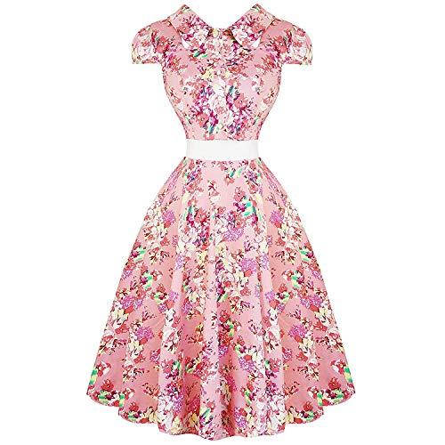 Hearts & Roses London Rosa Geblümt Chintz 1950s Jahre Vintage Retro Ausgestellt Sommer Sonnenkleid - Rosa und weiß, 10 Vintage Rose Chintz