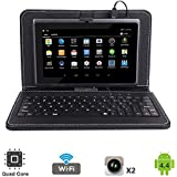 "Tagital 7"" Quad Core Android 4.4 KitKat Tablet PC, Dual Camera, Play Store Pre-Installed, 2017 Newest Model Bundled With Keyboard (Black)"