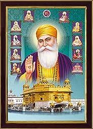 SAF Shri Gurunanak Ji Golden Temple SAFR6899 Sparkle Coated Digital Print Painting (13.25 inch x 9.25 inch) SA