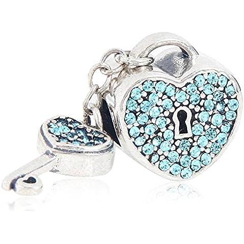 Soulbead regalo di San Valentino a forma di cuore, con ciondolo a forma di chiave, in argento Sterling, pendente con cristalli per compatibile europea Aquamarine Austrian