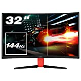 HKC G32, 32 Zoll (80cm) LED Gaming Monitor, Curved 1800R, 144Hz, Full-HD 1920x1080, (16:9, 300 CD/m2, 3000:1, Display Port, HDMI, DVI, Freesync, Low-Blue Light) [Energieklasse A], Schwarz/Rot