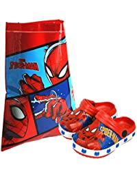 Marvel® Spider-Man Children's Kids Sandals Beach Slippers Shoes & PVC Swim Bag Set for Beach, Pool & Outdoor Activities - Available in Multiple UK Infant Shoe Sizes