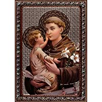 ST Saint Anthony Black/Silver/Gold foil Metallic Wood
