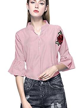 Le Strisce Bell Manica Ricamata Camicetta Rosa Casual Camicia Tunica Top