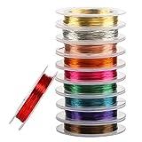 Naler 0,3 mm Kupferdraht Set Bunt in 10 Farben Basteldraht Schmuckdraht Schmuck Faden für Basteln (10 Stück)