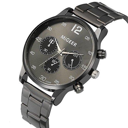 Uhren Herren Wasserdicht Sport Männer Edelstahl Business Fashion Armbanduhr Mann Runde Uhr Retro Kristall Edelstahl Analog Quarz Armbanduhr Armband (Black)