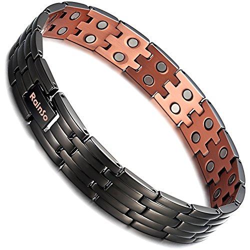 Rainso Herren-Kupfer-Magnetarmband für Arthritis-Schmerzlinderung, doppelreihig, schwarz