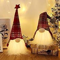مصباح كريسماس اسكندنافي من جي موي جفت بتصميم اقزام سويدية مع مؤقت، مجسم سانتا سويدي لزينة الكريسماس - مجموعة من 2 قطعة، 20×5 انش