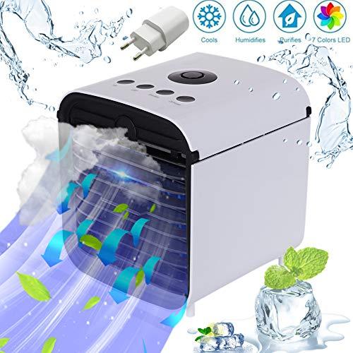 Miaogo Tragbare Klimaanlage Luftkühler 3 in 1 Luftkühler, Luftbefeuchter und Luftreiniger, für Büro, Hotel, Garage, 3 Stufen und 7 Farben LED Nachtlicht (Weiß) -