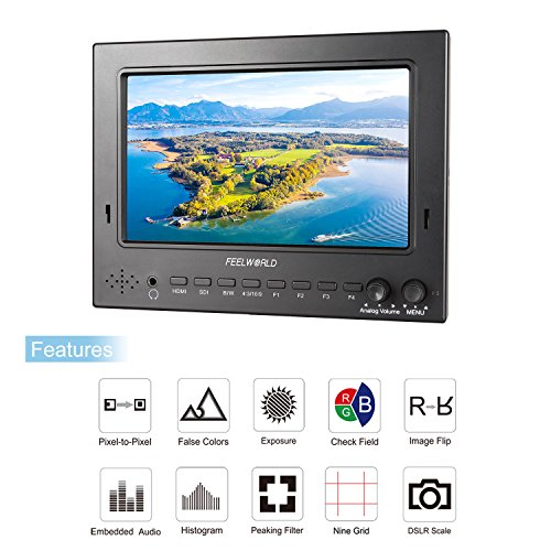 Get FEELWORLD 7 inch 1024*600 IPS Professional Broadcast 3G-SDI with HDMI video monitor enhanced with Image Flip and Check Field Features on Line