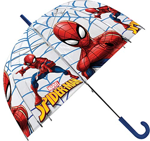 Spiderman Paraguas Transparente 48cm Campana Manual
