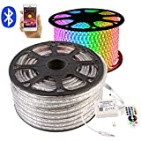 GreenSun LED Lighting 30m LED Lichtband Streifen Strip 60LEDs/m RGB SMD 5050 Lichterkette mit 24 Tasten Bluetooth Fernbedienung Empfänger Stromkabel wasserdicht IP65 Lichtschlauch