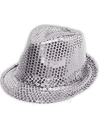 Mens Ladies Trilby Hat Sequin Fedora Hat 1920'S Gangster Fancy Dress Dance Show Unisex Accessory