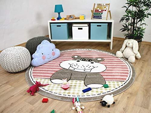 Maui Kids - Tapis pour enfant rond - motif hippopotame rose - 2 tailles disponibles
