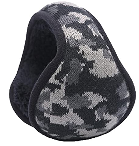Warm-U Winter Is Coming – Get Your Ear Warmer Ready – Back Worn Stylish Cozy Earmuff – Fit On Your Head – Fit In Your Pocket - Black Camouflage Pattern - Stretch Wrap Tipo