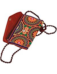 Kuber Industries™ Designer Girls Traditional Embroidery Elephant Work Sling Bag With Flap