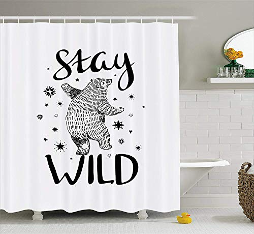 XIAOYI Bear Shower Curtain, Dancing Bear in Hand Drawn Style with Cute Little Stars Stay Wild Inspirational Quote, Fabric Bathroom Decor Set with Hooks, 60W X 72L Inche Extra Wide, Black White