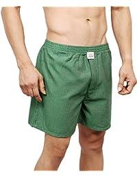 Neska Moda Men's Premium Elasticated Cotton Green Boxer With 1 Back Pocket-MFN-XB33