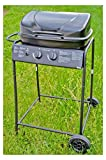 Nerd Clear Gas-Grill Smoker BBQ Grill-Wagen Grill-Kamin Stand-Grill Barbecue-Grill Outdoor Edelstahl schwarz 92 cm